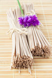 Portion of buckwheat noodles on bamboo table Royalty Free Stock Photo