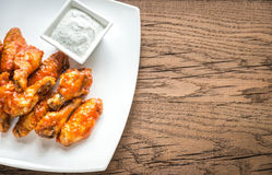 Portion of buffalo chicken wings Stock Photos