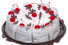 Portion cake with cherries Royalty Free Stock Photo
