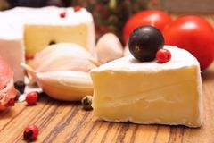 Portion of camembert Stock Photo