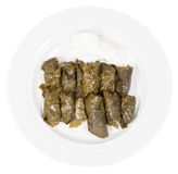 Portion caucasus dolma from vine leaves and mince Stock Photos