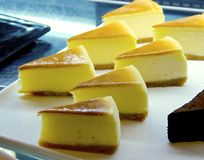 The portion of cheese cake Royalty Free Stock Photo