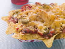 Portion Of Cheese And Chilli Nachoes Stock Images