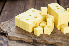Portion of Cheese (close-up shot) Stock Images