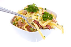 Portion of Cheese Spaetzle on a fork Royalty Free Stock Photography