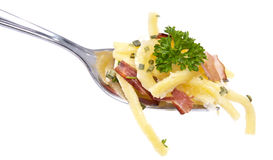 Portion of Cheese Spaetzle on a fork Royalty Free Stock Images
