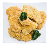 Portion of Chicken Nuggets on white Royalty Free Stock Image