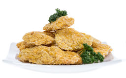 Portion of Chicken Nuggets on white Royalty Free Stock Photos