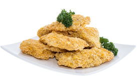 Portion of Chicken Nuggets on white Stock Photography