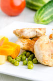 Portion of chicken white meat and vegetables Royalty Free Stock Photo