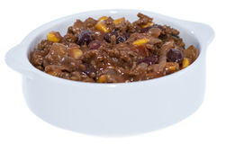 Portion of Chili con Carne on white Stock Image