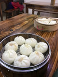 Portion of chinese baozi in cheap eatery Royalty Free Stock Images