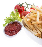 Portion of Chips with Ketchup Royalty Free Stock Photos