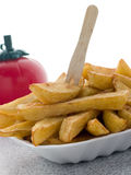 Portion Of Chips In A Polystyrene Tray Royalty Free Stock Photo