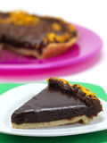 Portion of chocolate pie Royalty Free Stock Image