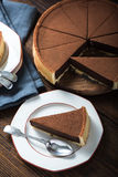 Portion of chocolate tort or cake Royalty Free Stock Photo