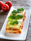 Portion of classic lasagne Royalty Free Stock Photography