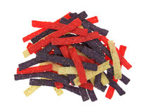 Portion of colorful tortilla strips on a white background Stock Photos