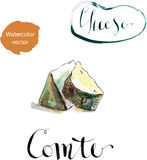 Portion of Comte fort Cheese. Traditional French cheese, watercolor, hand drawn - vector Illustration Stock Photo