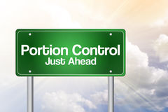 Portion Control Just Ahead Green Road Sign Stock Photos