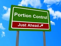 Portion control. Roadside type sign in green and brown with white text saying  'portion control just ahead', blue sky and cloud background Stock Photos