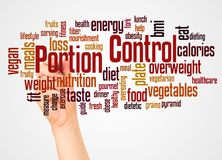 Portion Control word cloud and hand with marker concept royalty free stock image