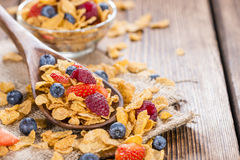 Portion of Cornflakes with Berries Royalty Free Stock Images