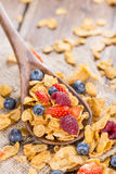 Portion of Cornflakes with Berries Stock Photo