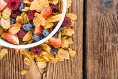 Portion of Cornflakes with Berries Royalty Free Stock Photos