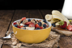 Portion of Cornflakes with fresh Fruits Royalty Free Stock Photo