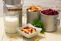 Portion of cornflakes and two aluminum cups with dried fruit Stock Photos