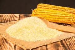 Portion of Cornmeal as detailed close-up shot Stock Photos