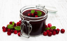 Portion of cranberry jam with fresh fruits Stock Photography