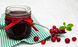Portion of cranberry jam with fresh fruits Royalty Free Stock Image