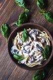 Portion of creamy mushroom linguine Stock Images