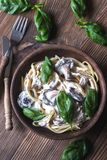 Portion of creamy mushroom linguine Stock Photography