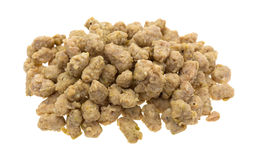 Portion of crumbled Italian sausage on white background Royalty Free Stock Image