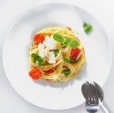 Portion de broccoli de spaghetti images stock