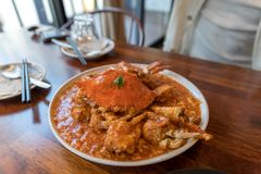 Portion de Chili Crab photos libres de droits