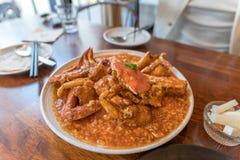 Portion de Chili Crab photographie stock