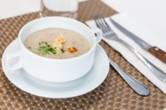 Portion de la soupe à champignons sauvage crème au restaurant image libre de droits
