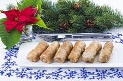 Portion de Noël des roulades de viande Images libres de droits