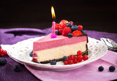 Portion of delicious raspberry cheesecake Royalty Free Stock Image