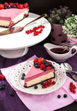 Portion of delicious raspberry cheesecake Royalty Free Stock Photo