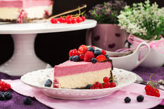 Portion of delicious raspberry cheesecake Stock Photography