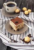 Portion of delicious tiramisu cake Stock Images