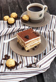 Portion of delicious tiramisu cake Royalty Free Stock Photo