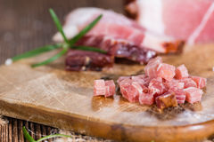 Portion of diced Ham Stock Photo