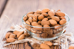 Portion of dried Almonds Royalty Free Stock Photos