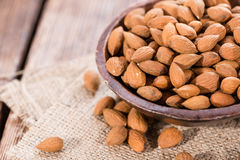 Portion of dried Almonds Royalty Free Stock Images